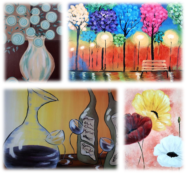 Beginner paint instruction wrapped up in a paint party environment. Some canvas choices here